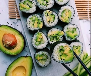 food, avocado, and sushi image