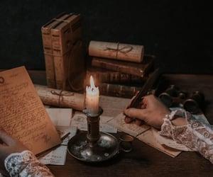 correspondence, nighttime, and candlelight image