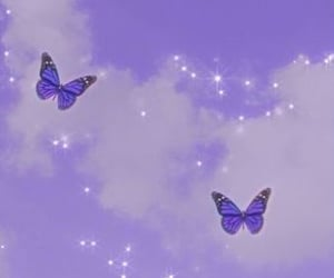 butterfly, purple, and sky image