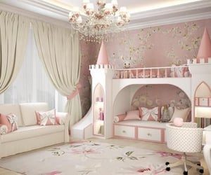 bed, castle, and girly image