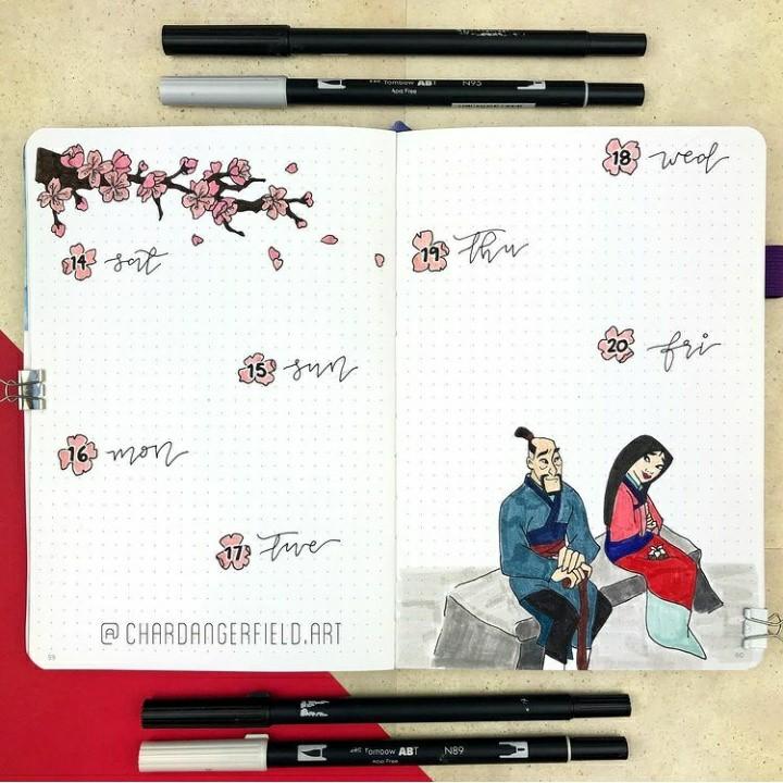 cherry blossom, bujo, and calendar image