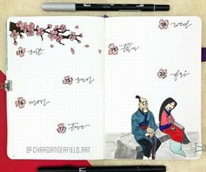 calendar, bujo, and cherry blossom image
