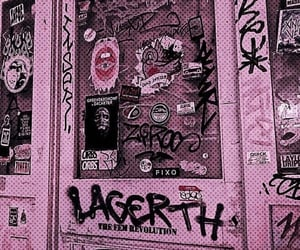door, graffiti, and pink image