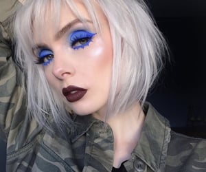 look, make up, and blue image