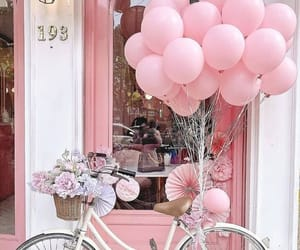 aesthetic, balloons, and bicycle image