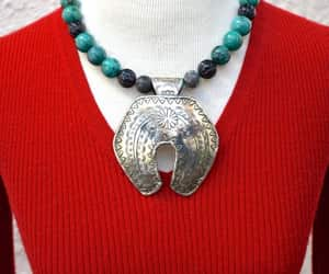 etsy, silver tone, and turquoise and black image