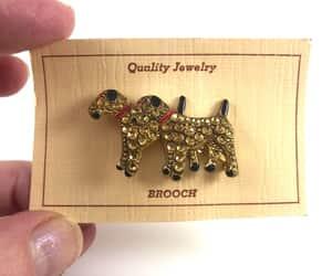 etsy, vintage dog brooch, and art deco rhinestone image