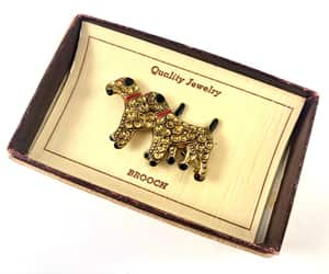 etsy, vintagejewelry, and vintage dog brooch image
