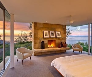 fireplace, sea shore, and luxury image