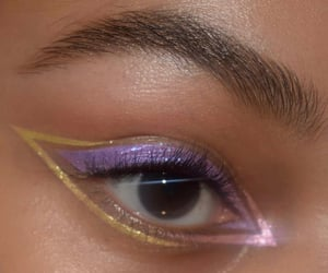 makeup, purple, and eyeliner image