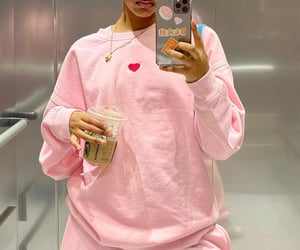 phone, pink, and starbucks image