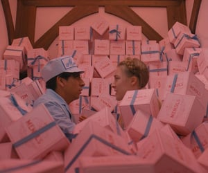 wes anderson, pink, and grand budapest hotel image
