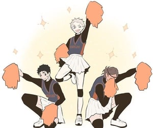 asahi, karasuno, and cheerleader image