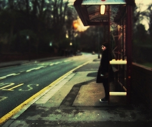 girl, bus stop, and waiting image