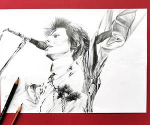 black and white, wall decoration, and Ziggy Stardust image