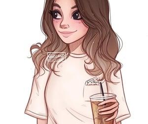 art, brown hair, and drawing image