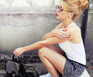 blonde, nerd glasses, and red lips image