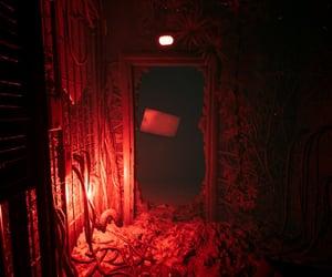 dark, door, and red image