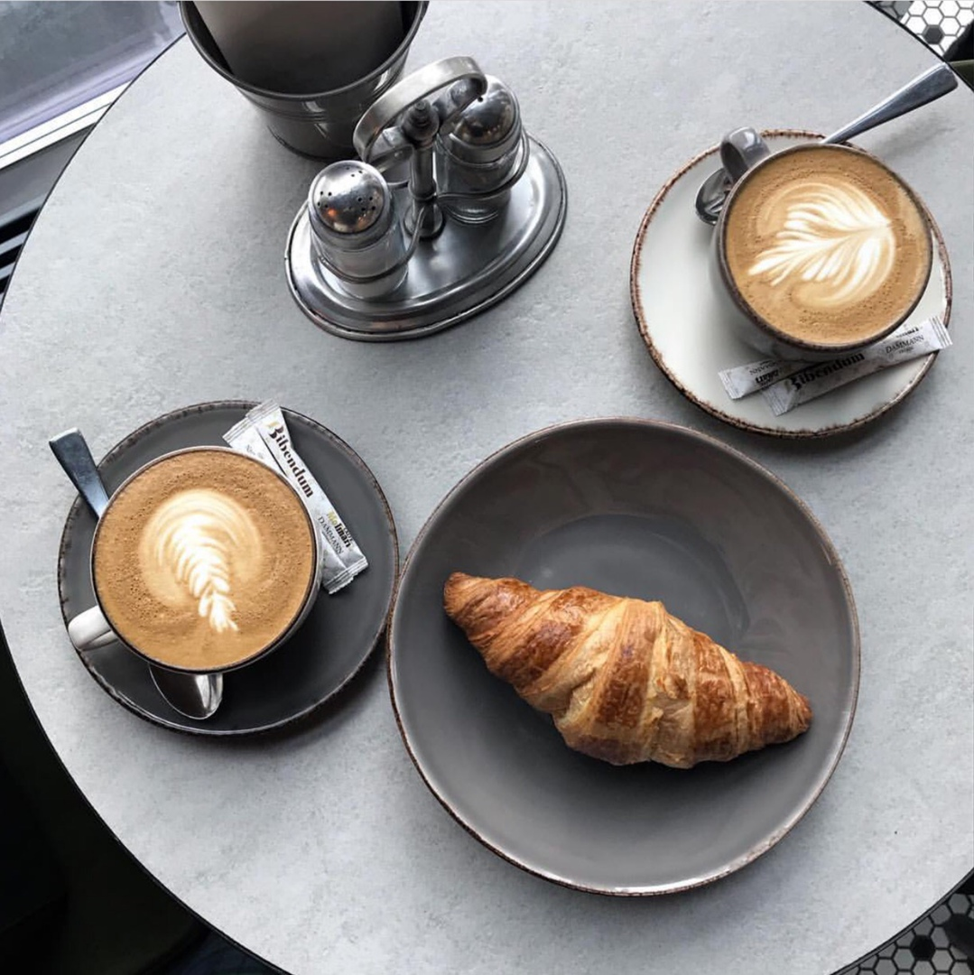 aesthetic, coffee, and croissant image