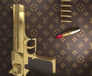 gun, lipstick, and Louis Vuitton image
