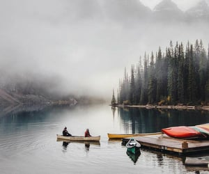 canoe, mist, and cold image