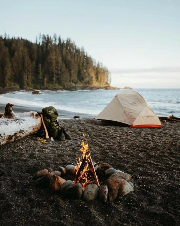 beach, fire, and travel image
