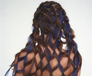 blue hair, braided hair, and design image