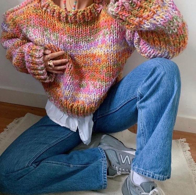 knit sweater, knitwear, and new balance image