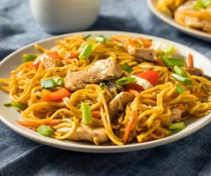 Chicken, noodle, and food image