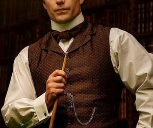 Henry Cavill, enola holmes, and sherlock holmes image