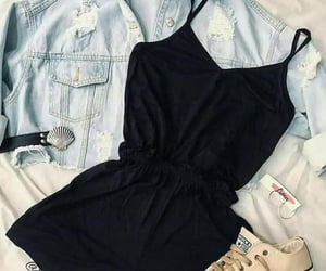 accessories, denim jacket, and fit image