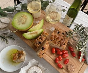 food, breakfast, and wine image