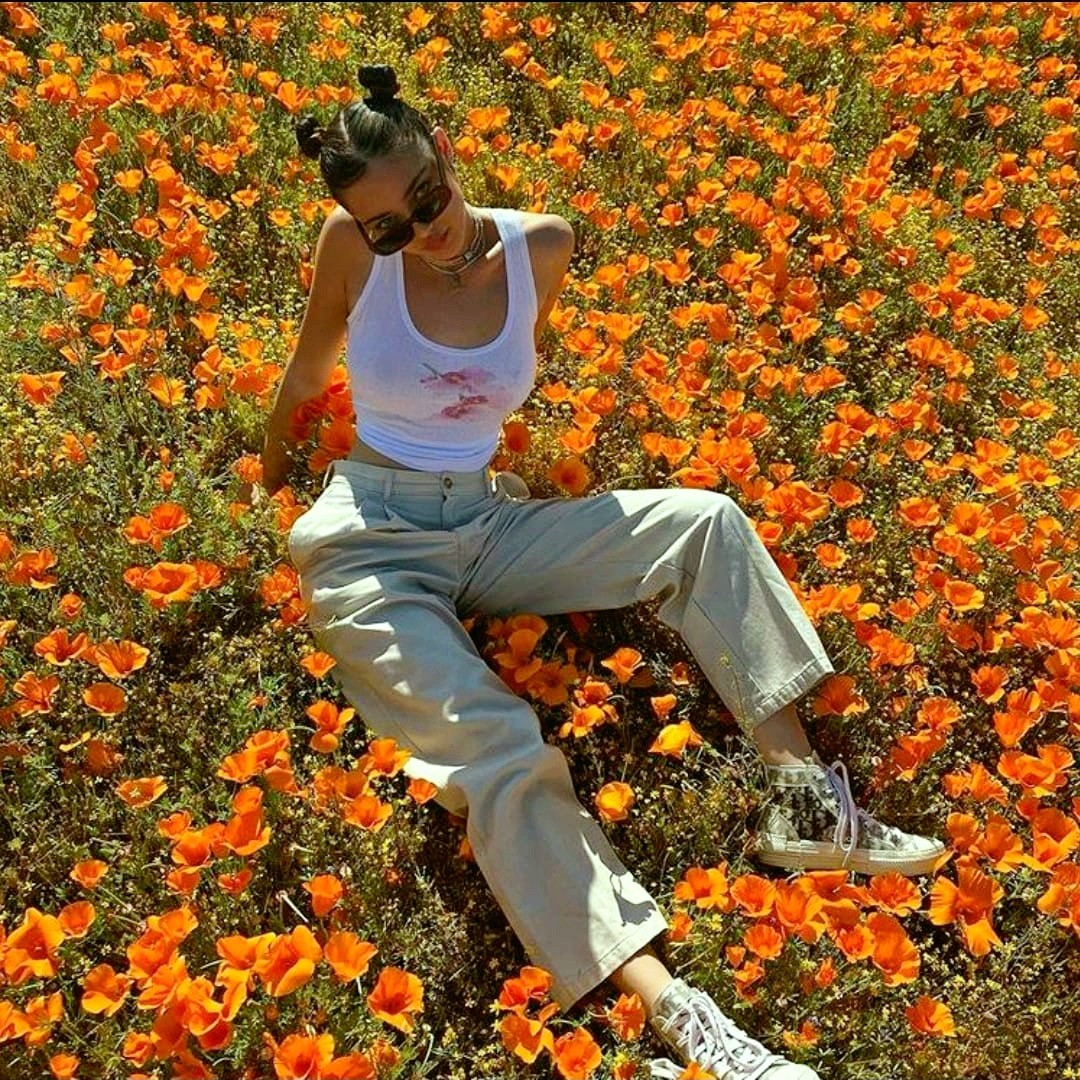 orange, flowers, and girl image