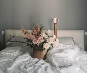bed, bouquet, and roses image