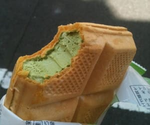 Green tea ice cream sandwich.