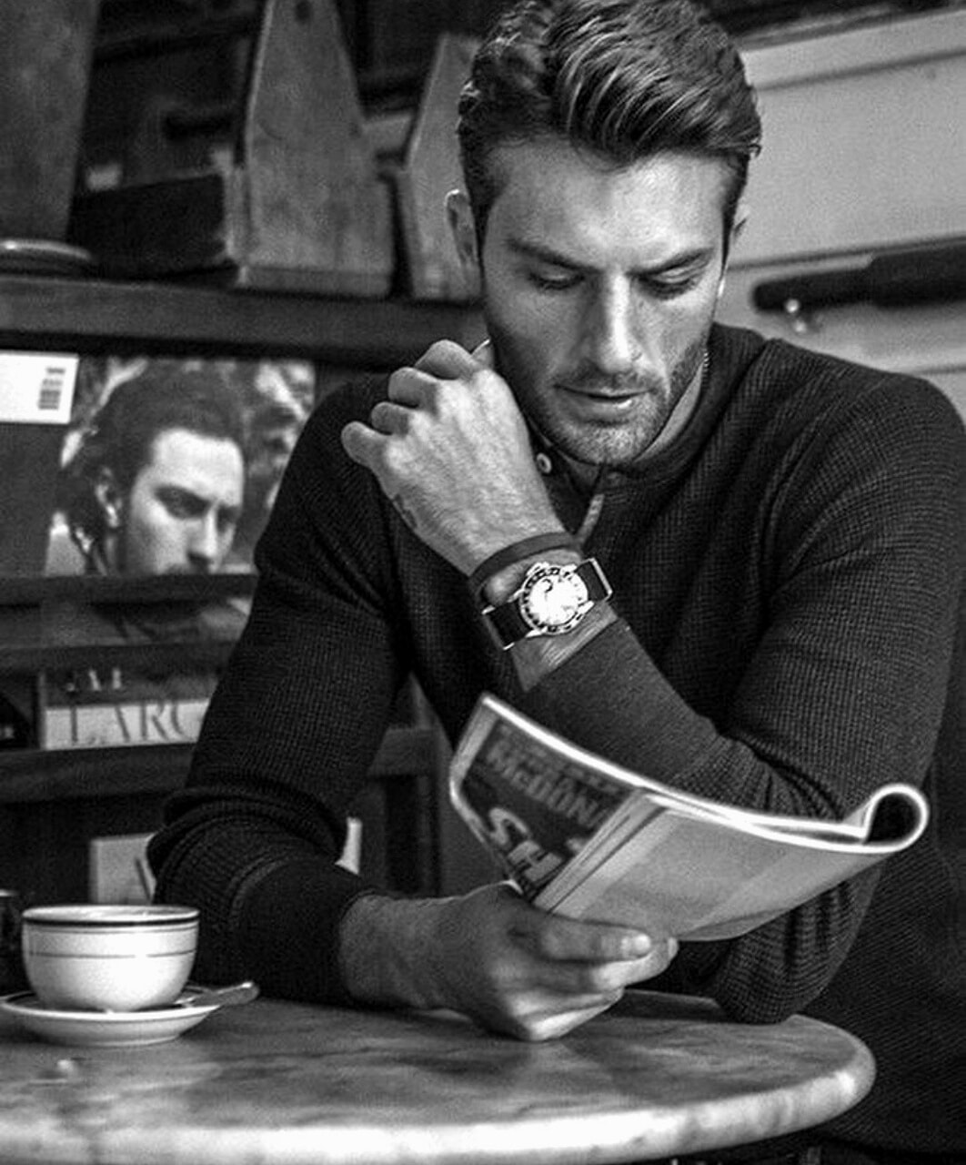 black and white, boy, and coffee image