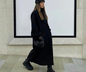 black coat, all black, and bottegaveneta bag image