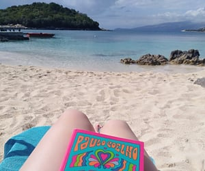 book, paradise, and beach image