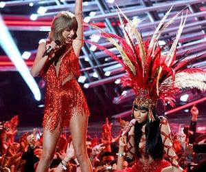 Taylor Swift, nicki minaj, and vma image
