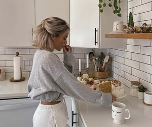 girl, kitchen, and blonde image
