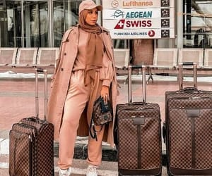 traveling style, branded luggage styles, and travel outfit ideas image
