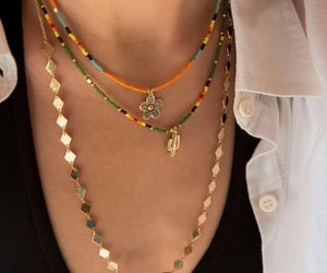 bead necklace, beads, and layer necklace image