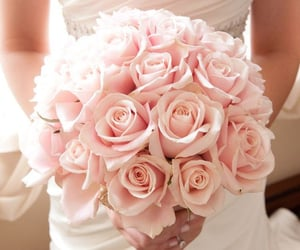 bouquet, roses, and wedding image