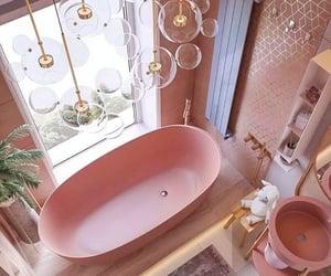 bathroom, bathtub, and pink image
