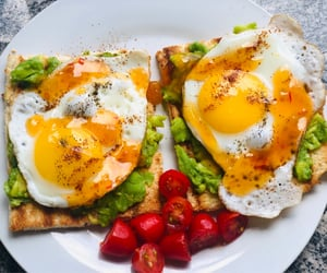 lunch, tomatoes, and eggs image