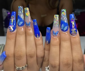 blue nails, butterflies, and acrylic nails image