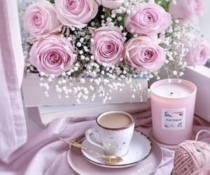 coffee, pink, and roses image