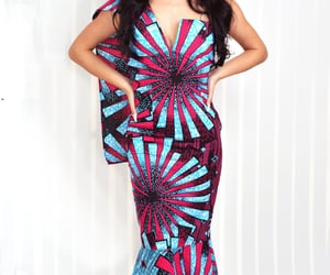 strapless dress, african print, and mermaid dress image