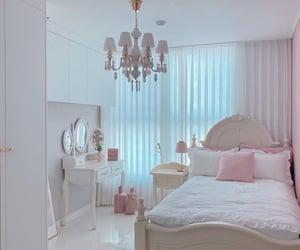 bedroom, chandelier, and pink image