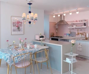 blue, pastel pink, and chandelier image